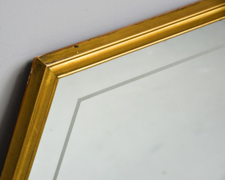Mid-Century Modern Large Italian Mid Century Brass Framed Mirror For Sale