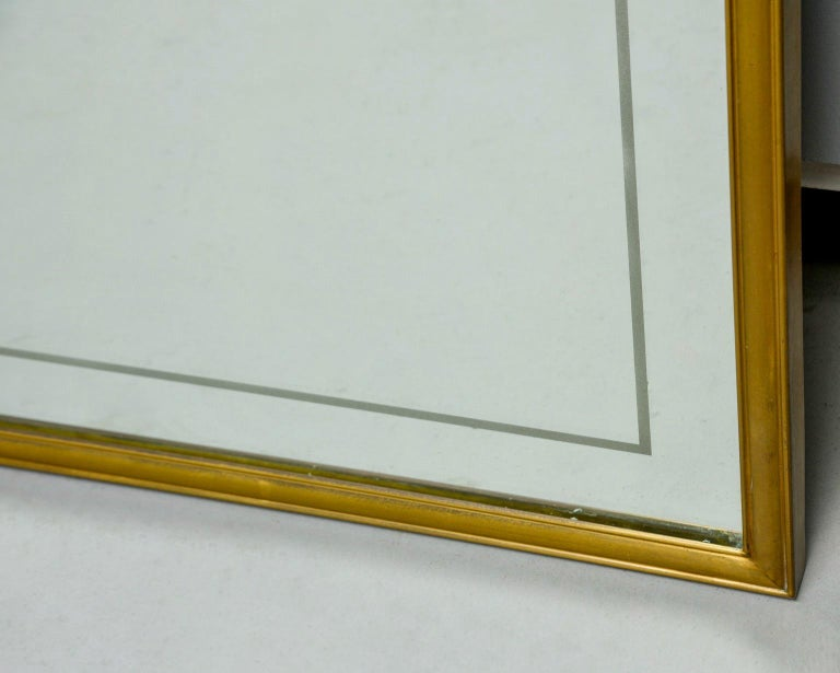 20th Century Large Italian Mid Century Brass Framed Mirror For Sale