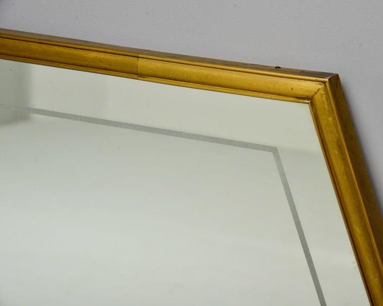 Large Italian Mid Century Brass Framed Mirror For Sale 1