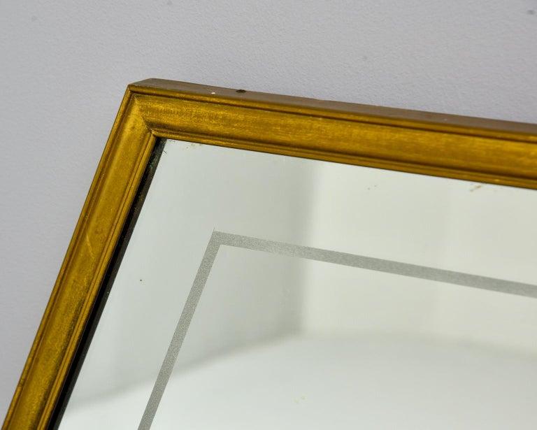 Large Italian Mid Century Brass Framed Mirror For Sale 3