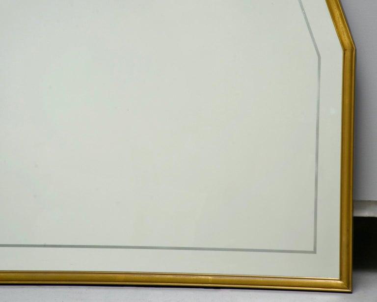 Large Italian Mid Century Brass Framed Mirror For Sale 4