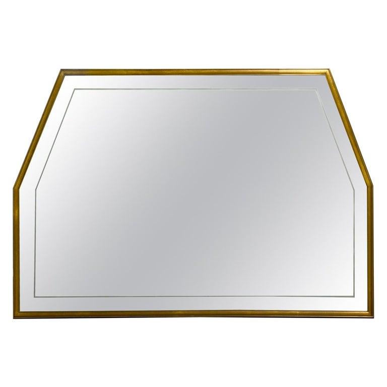 Large Italian Mid Century Brass Framed Mirror For Sale