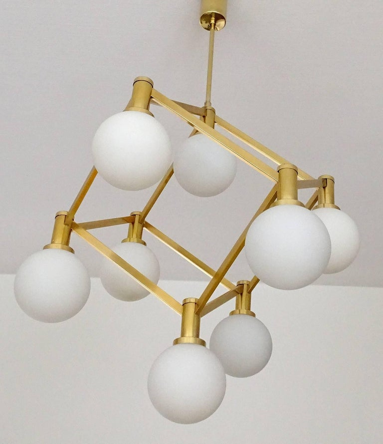 Large Italian MidCentury Brass Glass Chandelier Pendants, Stilnovo Gio Ponti Era For Sale 5