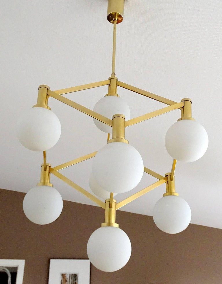 Large Italian MidCentury Brass Glass Chandelier Pendants, Stilnovo Gio Ponti Era For Sale 7