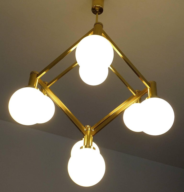 Large Italian MidCentury Brass Glass Chandelier Pendants, Stilnovo Gio Ponti Era For Sale 12