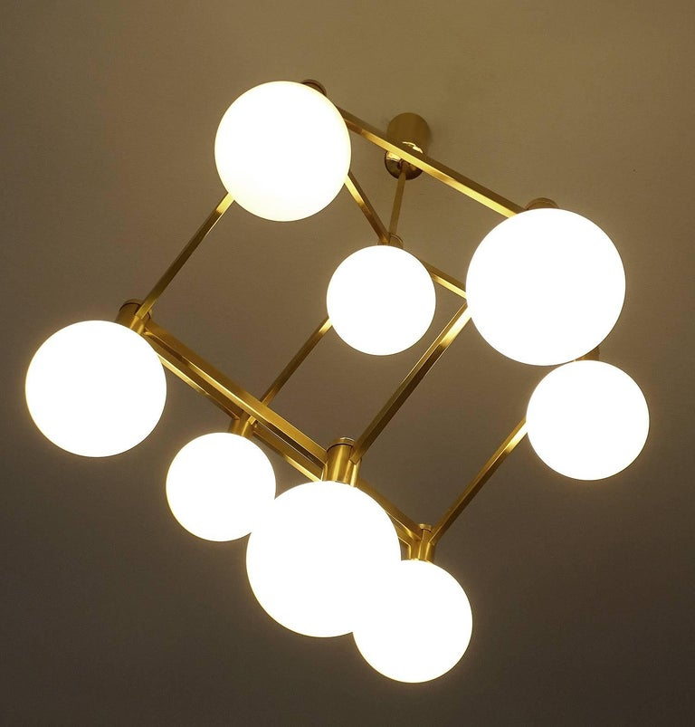 Large Italian MidCentury Brass Glass Chandelier Pendants, Stilnovo Gio Ponti Era For Sale 1