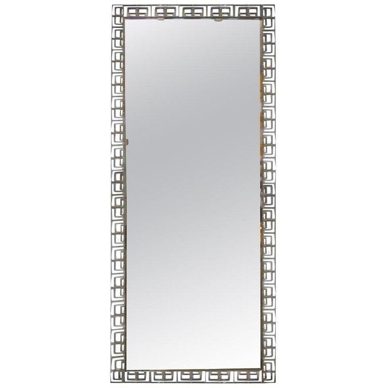 Large Italian Mid-Century Modern Neoclassical Bronze Filagree Floor/ Wall Mirror For Sale