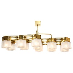 Large Italian Midcentury Style Brass and White Murano Glass Chandelier
