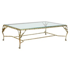 "Large Italian Midcentury ""ArteLegno"" Brass and Glass Coffee Table"