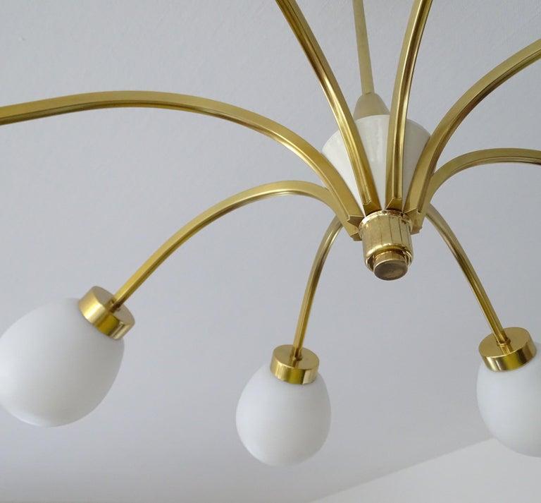 Large Italian Midcentury Brass Glass Sputnik Chandelier, Stilnovo Gio Ponti Era For Sale 8