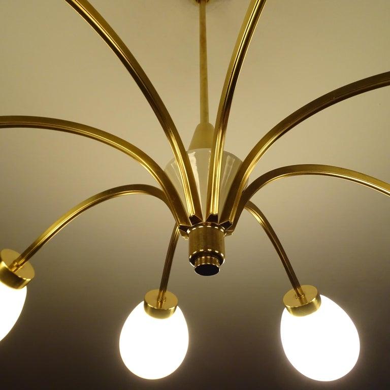 Large Italian Midcentury Brass Glass Sputnik Chandelier, Stilnovo Gio Ponti Era For Sale 9
