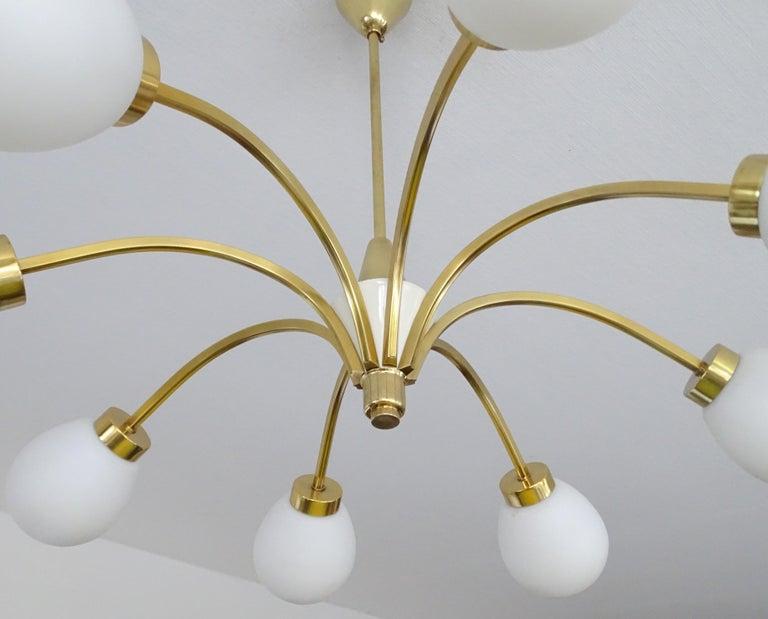 Large Italian Midcentury Brass Glass Sputnik Chandelier, Stilnovo Gio Ponti Era For Sale 10