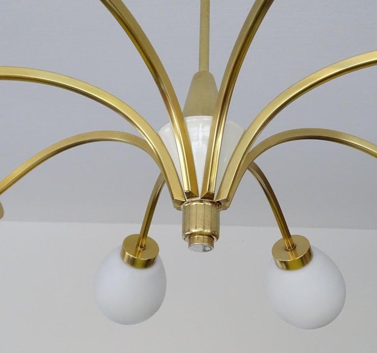 Large Italian Midcentury Brass Glass Sputnik Chandelier, Stilnovo Gio Ponti Era For Sale 11