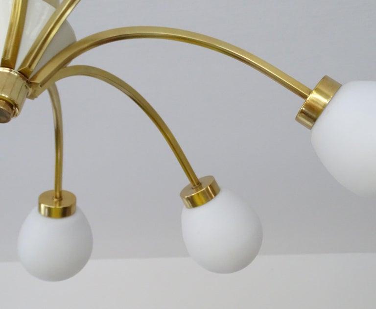 Large Italian Midcentury Brass Glass Sputnik Chandelier, Stilnovo Gio Ponti Era For Sale 12