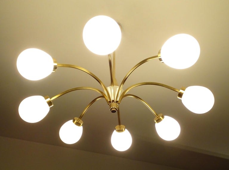 Very elegant Sputnik chandelier with eight spokes, brass with cream white trim, elongated egg shaped opaline glass shades Dimensions H 19.69 in. x Dm 35.44 in. H 50 cm x Dm 90 cm Eight candelabra size (small sized) bulbs up to 40 watts