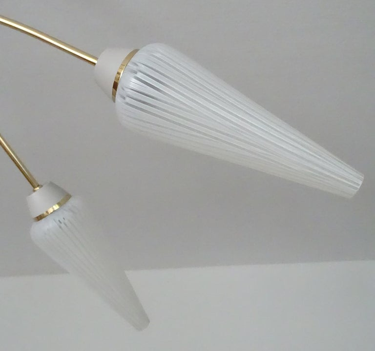 Large Italian  MidCentury Brass Glass Sputnik Chandelier, Stilnovo Gio Ponti Era For Sale 15