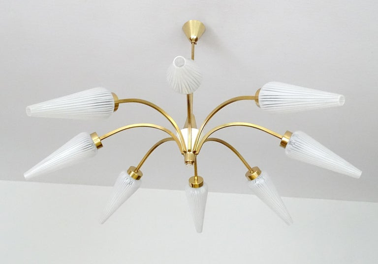Mid-20th Century Large Italian  MidCentury Brass Glass Sputnik Chandelier, Stilnovo Gio Ponti Era For Sale