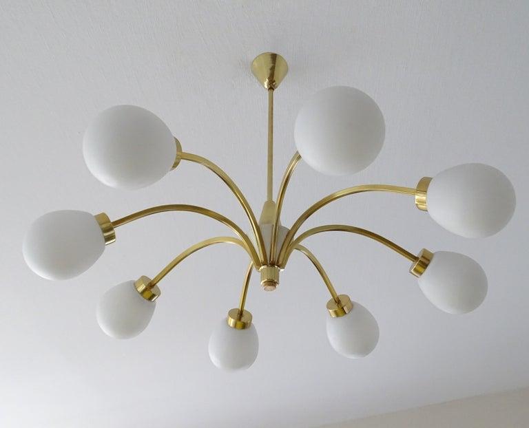 Mid-20th Century Large Italian Midcentury Brass Glass Sputnik Chandelier, Stilnovo Gio Ponti Era For Sale