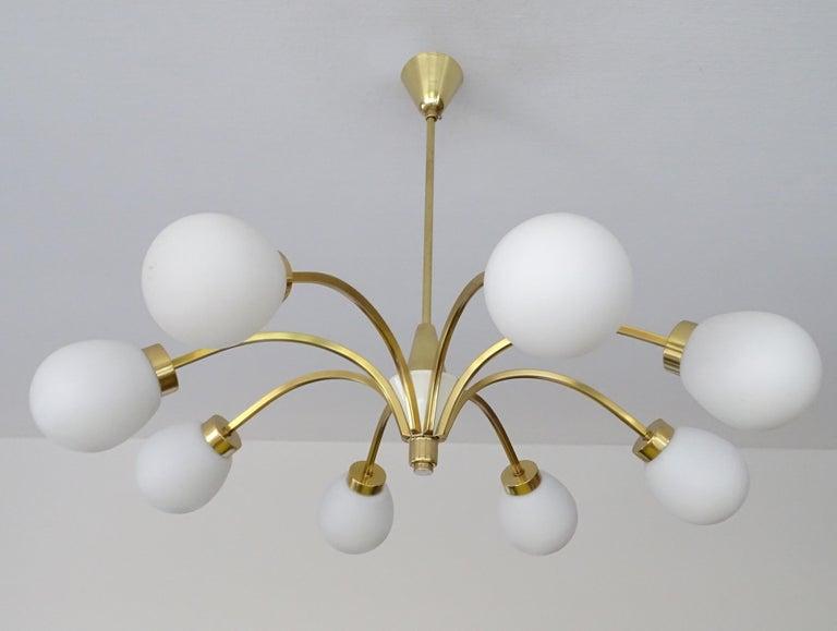 Large Italian Midcentury Brass Glass Sputnik Chandelier, Stilnovo Gio Ponti Era For Sale 4