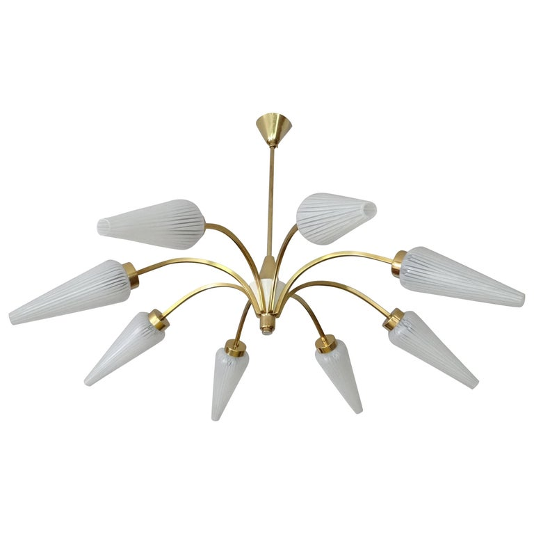 Large Italian  MidCentury Brass Glass Sputnik Chandelier, Stilnovo Gio Ponti Era For Sale