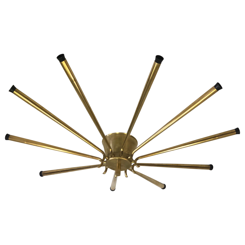 Large Italian Midcentury Brass Sunburst or Star Flush Mount / Pendant, Stilnovo