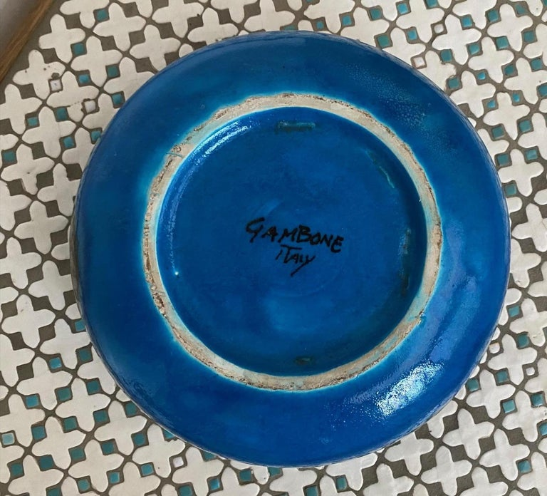 Large Italian Midcentury Ceramic Bowl Signed by Guido Gambone For Sale 1