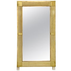 Large Italian Mirror with Polished Brass and Enamel Frame