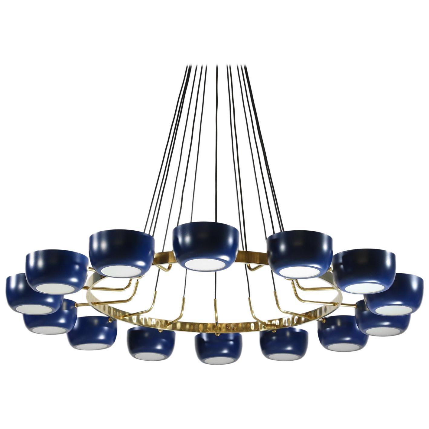 "Large Italian Modern Blue Chandelier with 14 Lights in Stilnovo Style ""Moderna"""