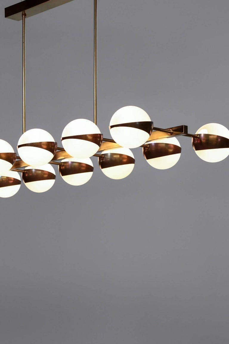 Large Italian Modern Chandelier 12 Lights, Stilnovo Style For Sale 3