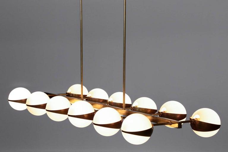 Large Italian Modern Chandelier 12 Lights, Stilnovo Style For Sale 4
