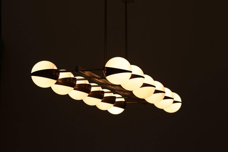 Large Italian Modern Chandelier 12 Lights, Stilnovo Style For Sale 5