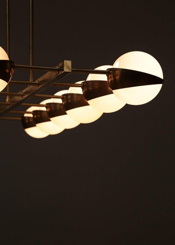 Large Italian Modern Chandelier 12 Lights, Stilnovo Style For Sale 6