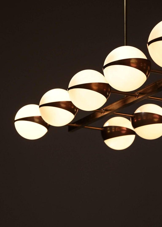 Large Italian Modern Chandelier 12 Lights, Stilnovo Style For Sale 7
