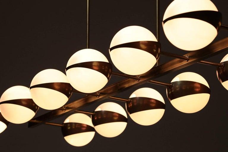 Large Italian Modern Chandelier 12 Lights, Stilnovo Style For Sale 8