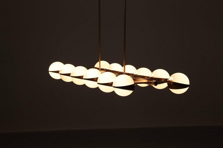 Large Italian Modern Chandelier 12 Lights, Stilnovo Style For Sale 9