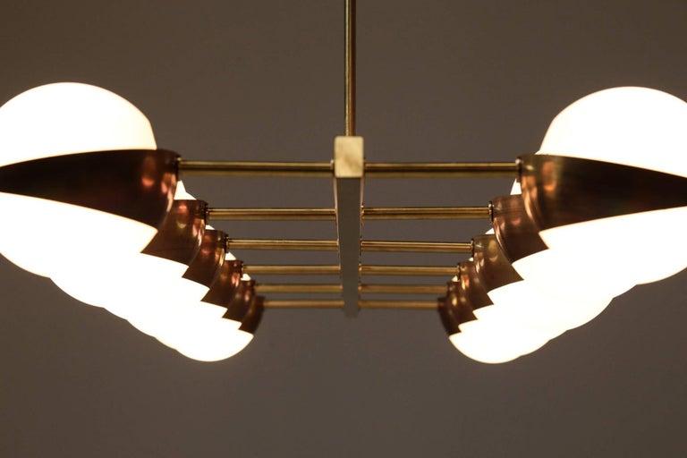 Large Italian Modern Chandelier 12 Lights, Stilnovo Style For Sale 10