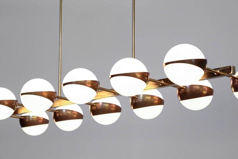 Brass Large Italian Modern Chandelier 12 Lights, Stilnovo Style For Sale