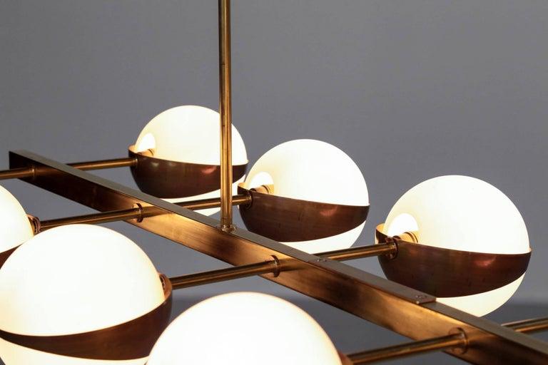Large Italian Modern Chandelier 12 Lights, Stilnovo Style For Sale 1