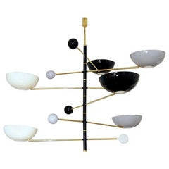 Large Italian Modern Chandelier in Brass and Enamel by Fabio Ltd
