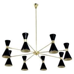 Large Italian Modern Chandelier in Brass and Enamel by Fabio Ltd