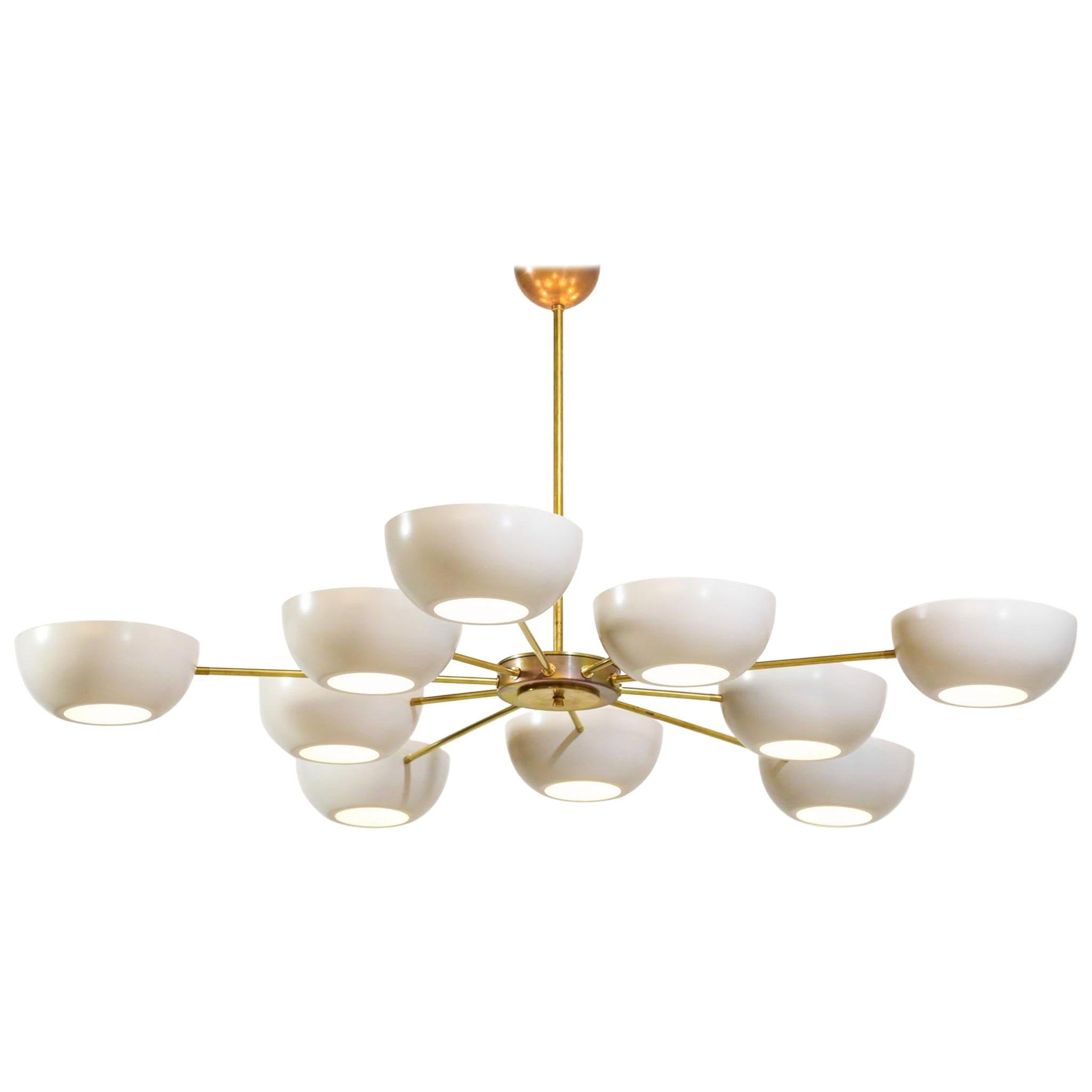 "Large Italian Modern Chandelier with 12 Arms in Gino Sarfatti Style ""Angelica"""