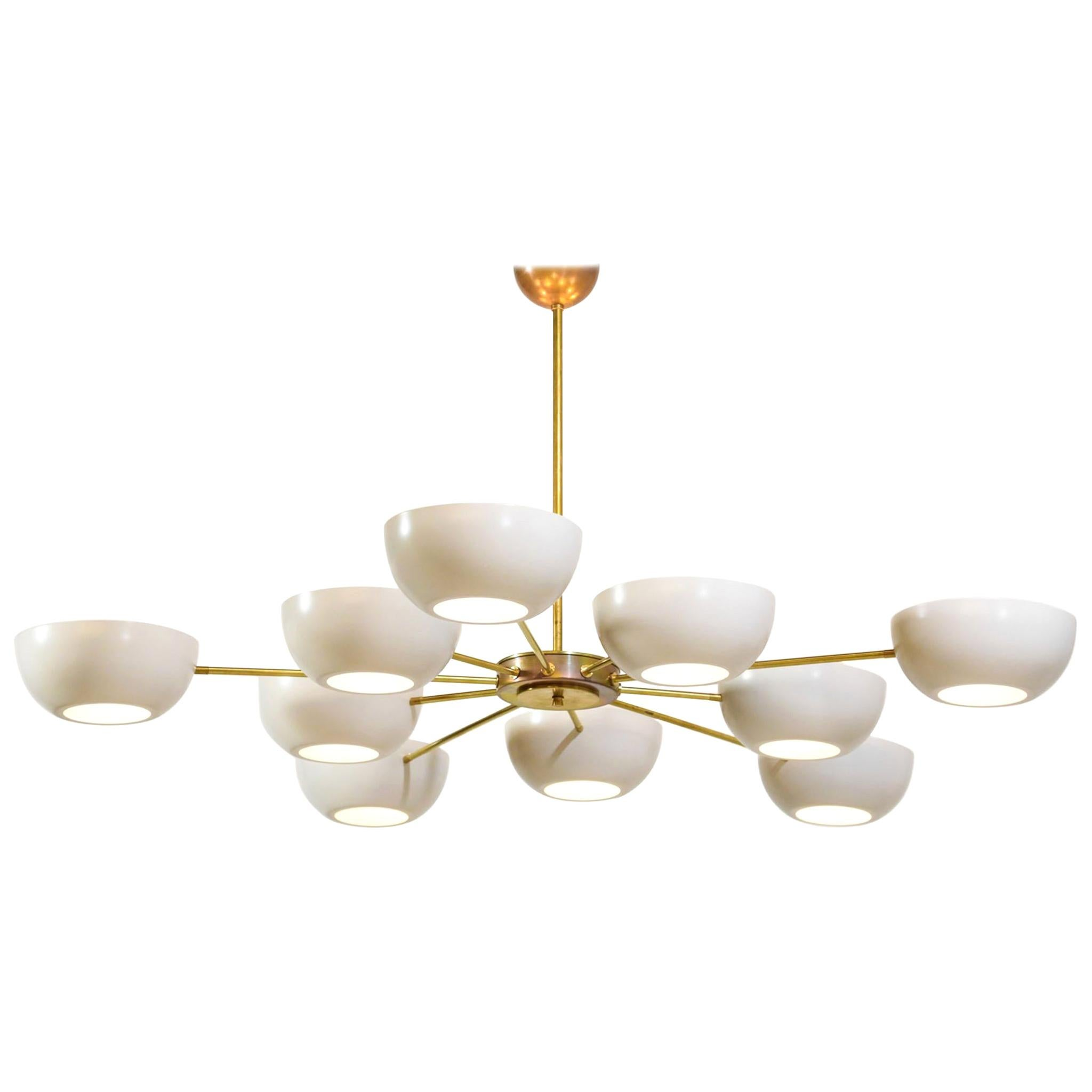 "Large Italian Modern Chandelier with 12 Arms in Gino Sarfatti Style ""Gaia"""