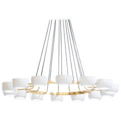 Large Italian Modern Chandelier with 14 Lights in Stilnovo Style