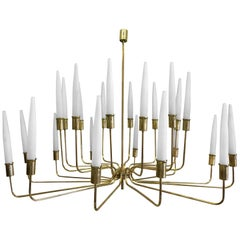 Large Italian Modern Neoclassic 2-Tier Brass & Satin Glass Chandelier, Stilnovo