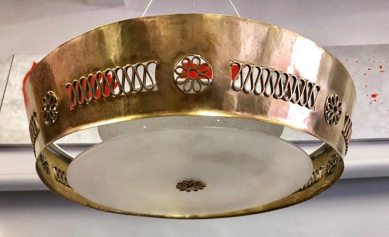 20th Century Italian Modern Neoclassical Brass Pendant / Flush Mount Attribute Pietro Chiesa For Sale