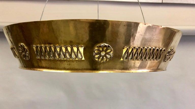 Italian Modern Neoclassical Brass Pendant / Flush Mount Attribute Pietro Chiesa For Sale 1