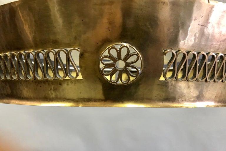 Italian Modern Neoclassical Brass Pendant / Flush Mount Attribute Pietro Chiesa For Sale 3