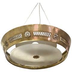 Italian Modern Neoclassical Brass Pendant / Flush Mount Attribute Pietro Chiesa