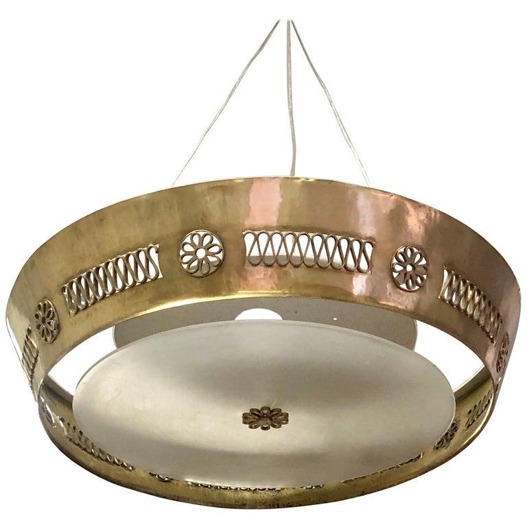 Italian Modern Neoclassical Brass Pendant / Flush Mount Attribute Pietro Chiesa For Sale