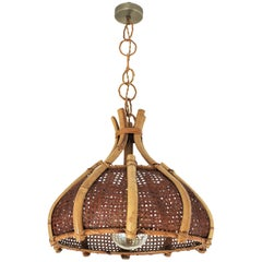 Large Italian Modernist Wicker and Bamboo Bell Shaped Chandelier Pendant, 1960s